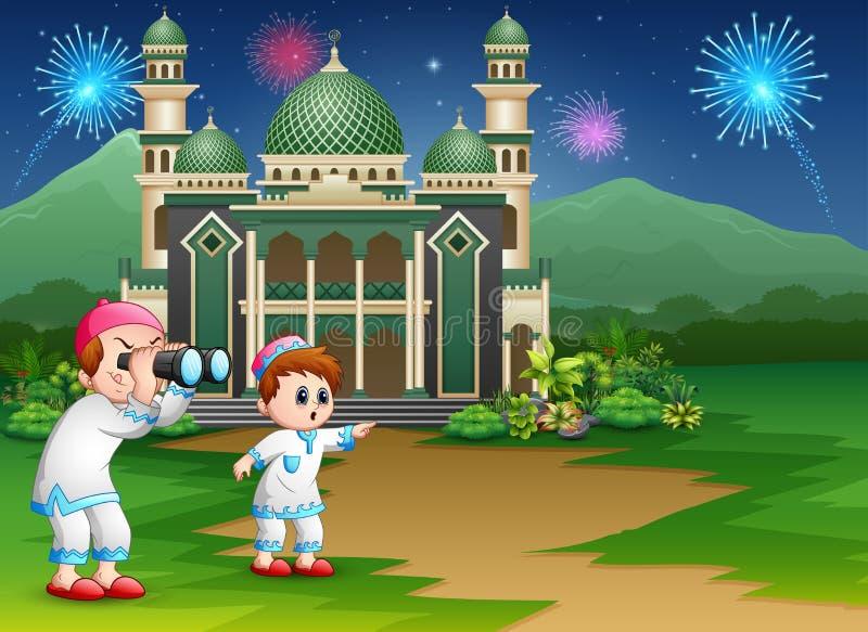 Ragazzi musulmani che tengono il binocolo alla celebrazione di Eid illustrazione vettoriale