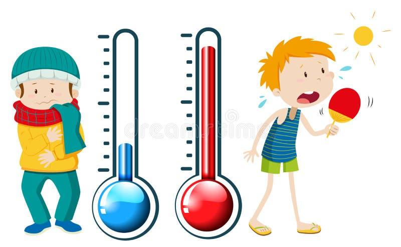 Ragazzi nell'inverno e nell'estate illustrazione vettoriale