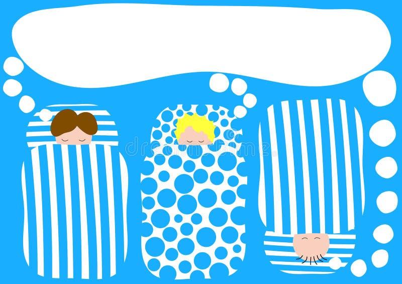 Ragazzi nell'invito del pigiama party dei sacchi a pelo illustrazione vettoriale