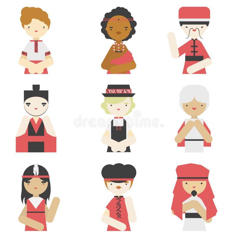 Ragazzi nelle icone piane dei vestiti tradizionali illustrazione vettoriale