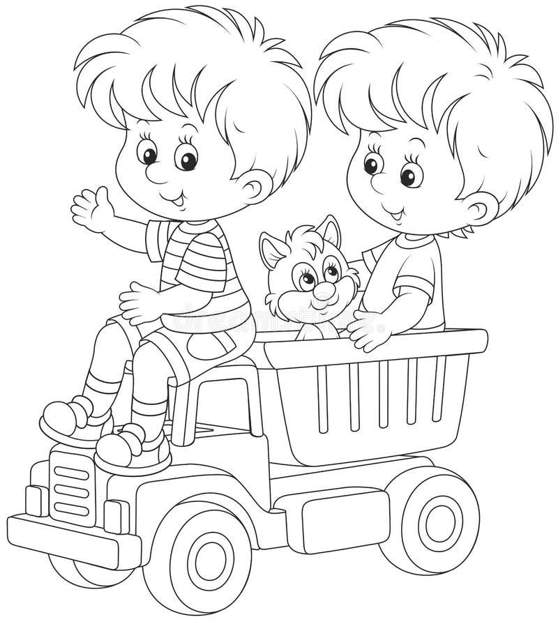 Ragazzini con un camion del giocattolo illustrazione di stock