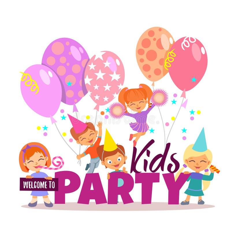 Ragazzini e ragazze che celebrano Invito del partito dei bambini illustrazione vettoriale