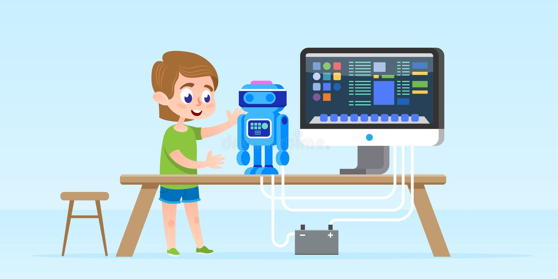 Ragazzino che crea e che programma robot astuto Illustrazione isolata di vettore Concetto di sviluppo di prima infanzia royalty illustrazione gratis