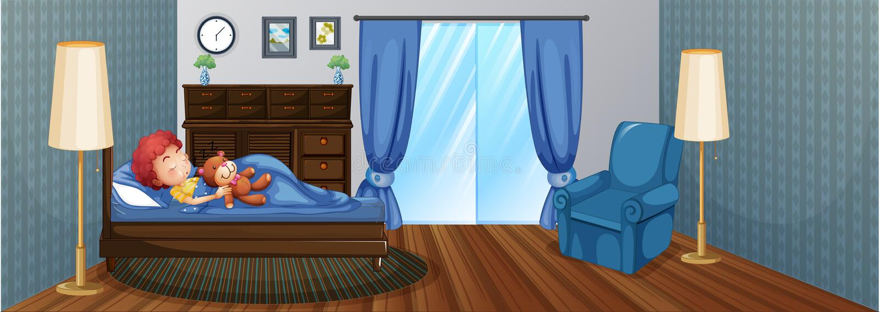 Ragazzino che dorme sul letto illustrazione di stock