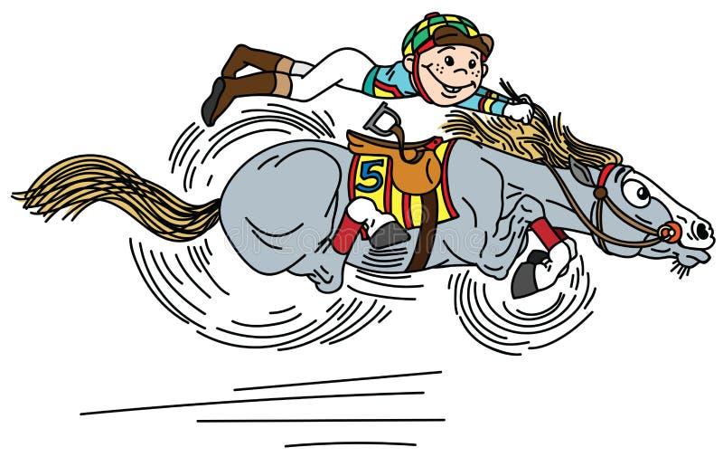 Ragazzino che guida un cavallino molto veloce in una corsa illustrazione di stock