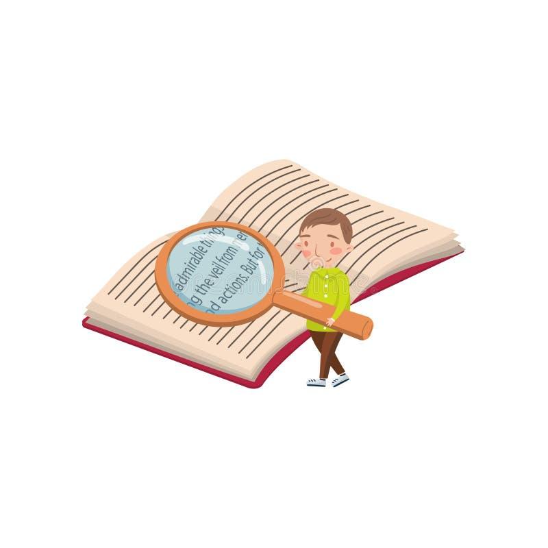 Ragazzino che legge un libro con una lente d'ingrandimento, le attività prescolari e un vettore del fumetto di istruzione di prim illustrazione vettoriale