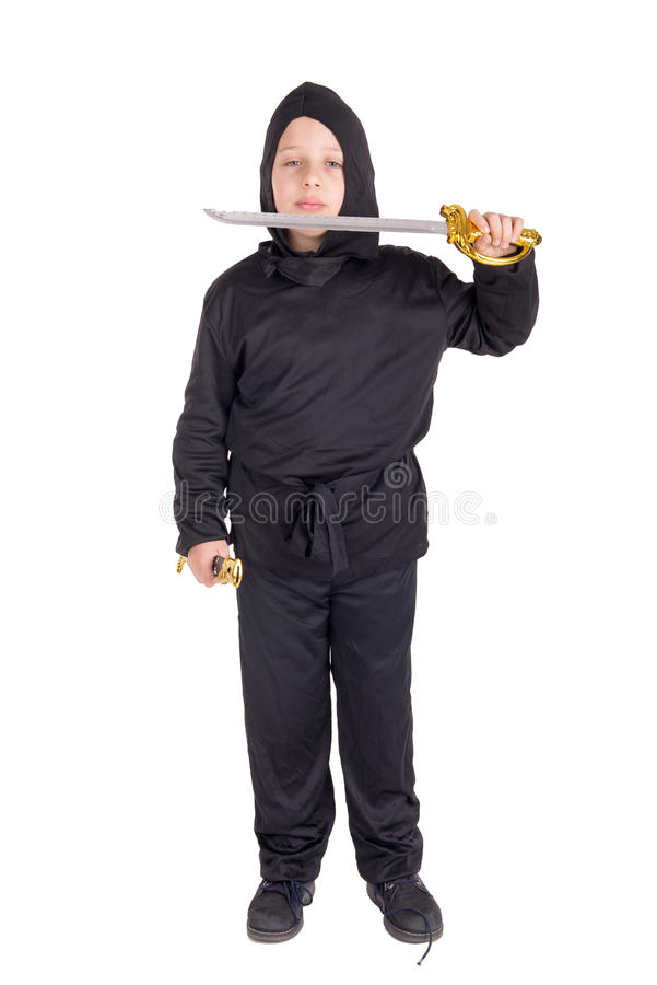 Ragazzino che posa su Halloween immagine stock libera da diritti