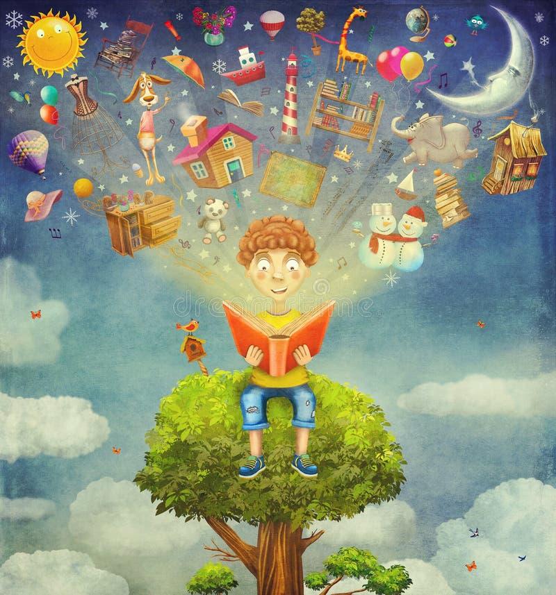 Ragazzino che si siede sul libro di lettura e dell'albero, flyi degli oggetti illustrazione di stock