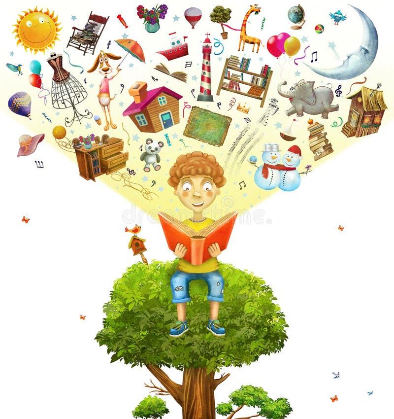 Ragazzino che si siede sull'albero e che legge un libro illustrazione di stock