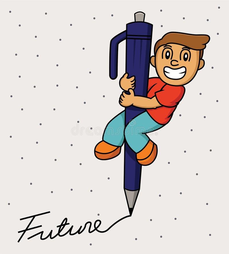 Ragazzino che usando un grande futuro di scrittura della penna illustrazione di stock