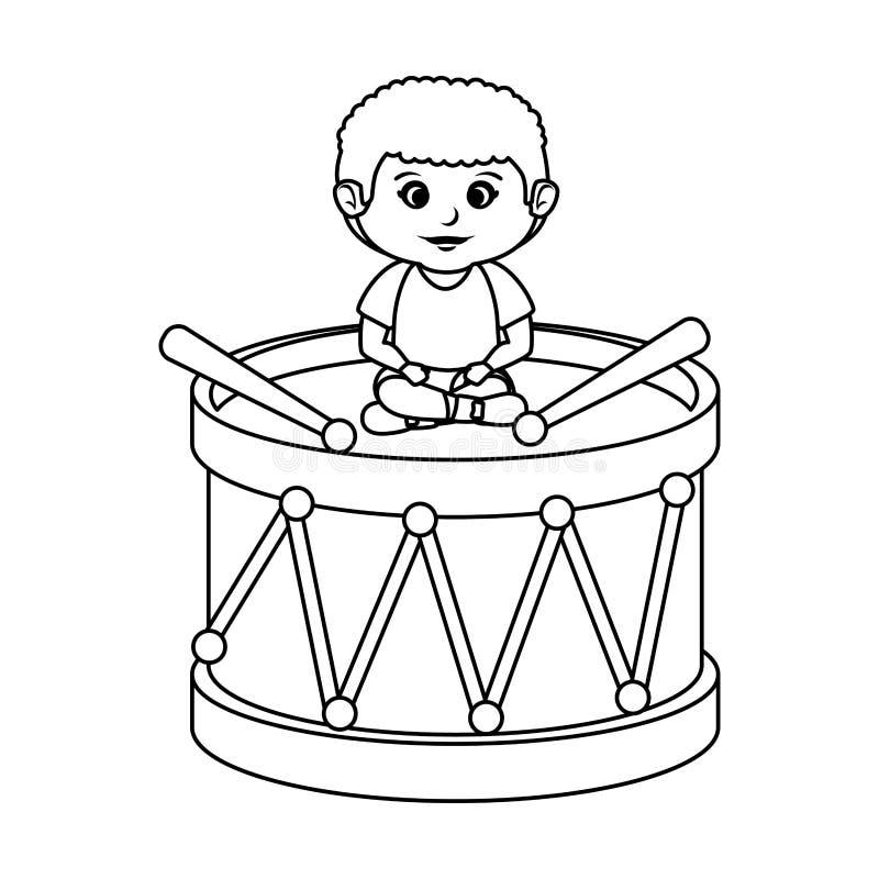 Ragazzino con il giocattolo del tamburo royalty illustrazione gratis