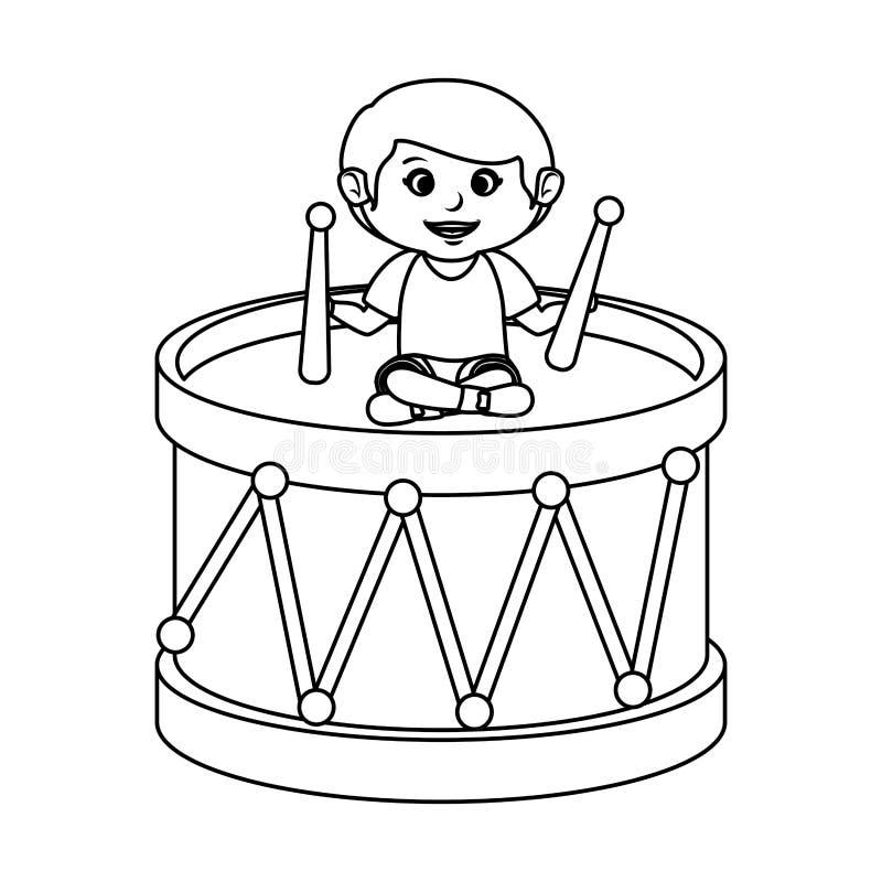 Ragazzino con il giocattolo del tamburo illustrazione vettoriale
