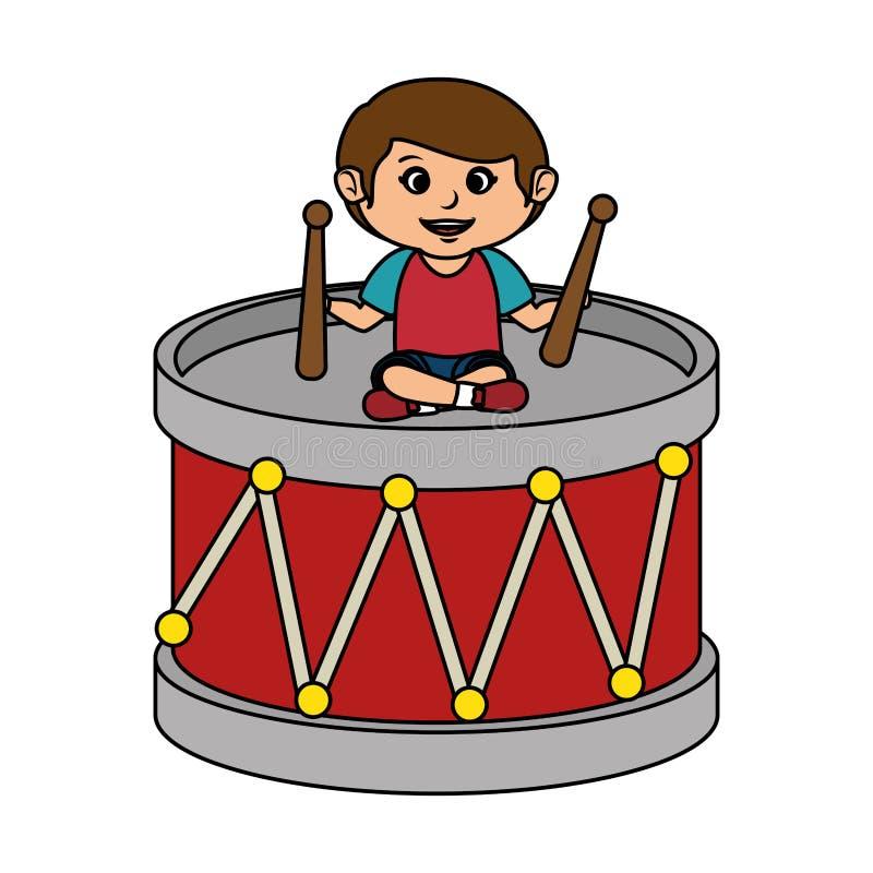 Ragazzino con il giocattolo del tamburo illustrazione di stock