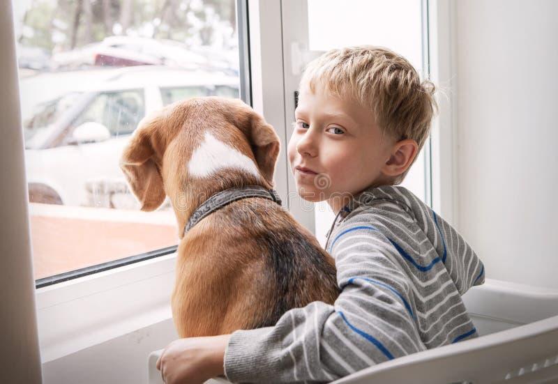 Ragazzino con il suo cane che aspetta insieme vicino alla finestra fotografia stock libera da diritti