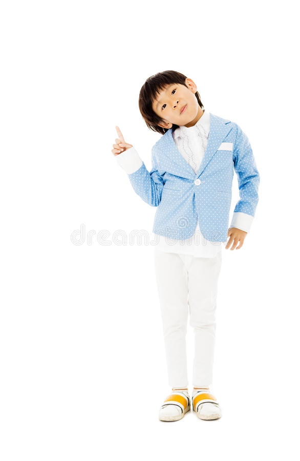 ragazzino con indicare gesto fotografia stock libera da diritti