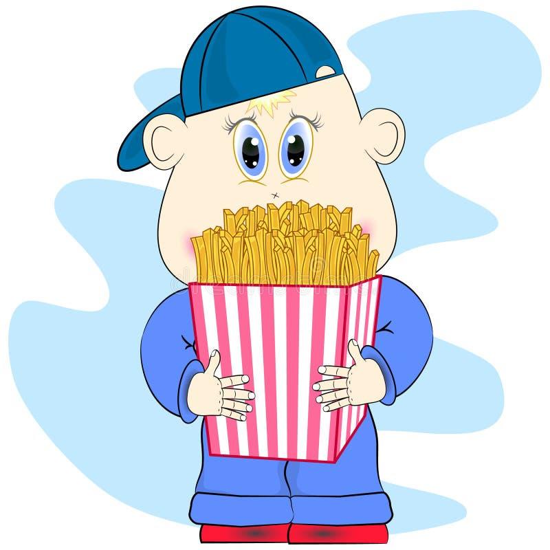 Ragazzino con l'illustrazione di vettore del fumetto delle patate fritte illustrazione di stock