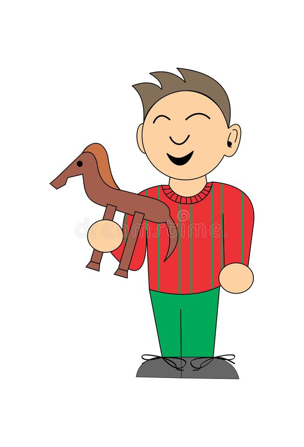 Ragazzino con un cavallo del giocattolo illustrazione di stock