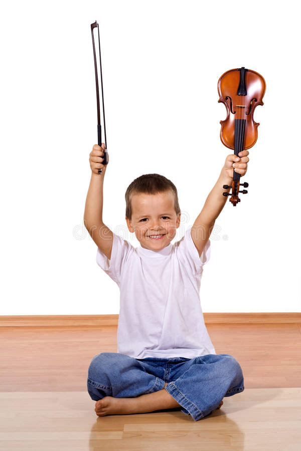 Ragazzino con un violino fotografia stock