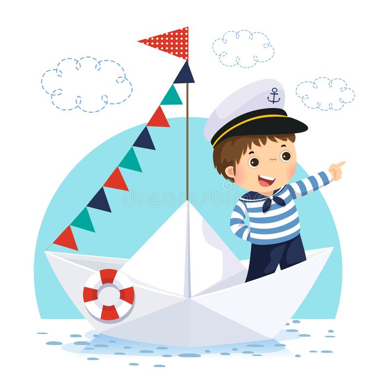 Ragazzino in costume del marinaio che sta in una barca di carta royalty illustrazione gratis
