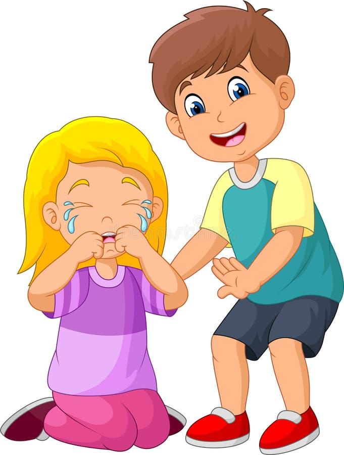 Ragazzino del fumetto che conforta una ragazza gridante illustrazione di stock