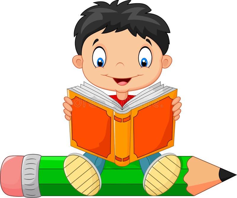 Ragazzino del fumetto che legge un libro illustrazione di stock