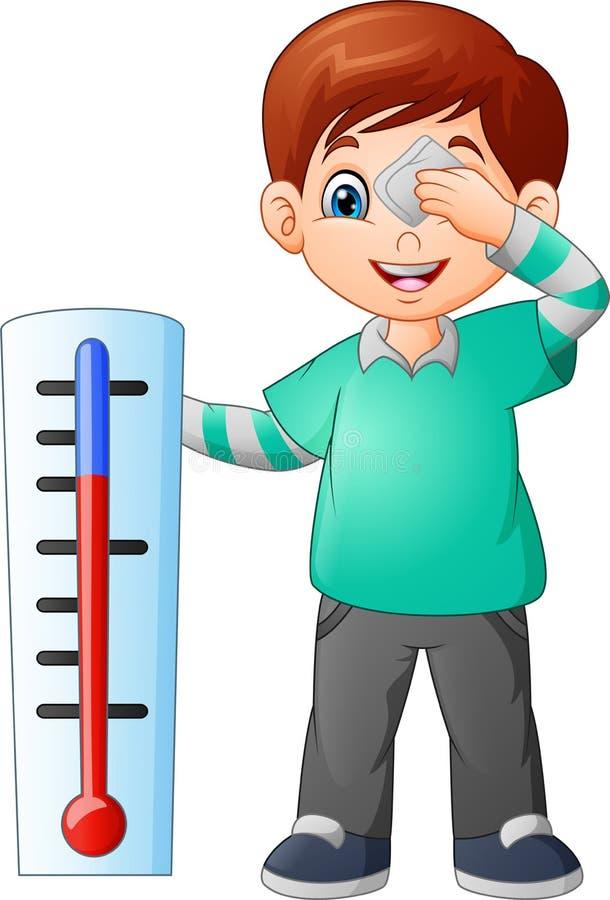 Ragazzino del fumetto con un termometro royalty illustrazione gratis