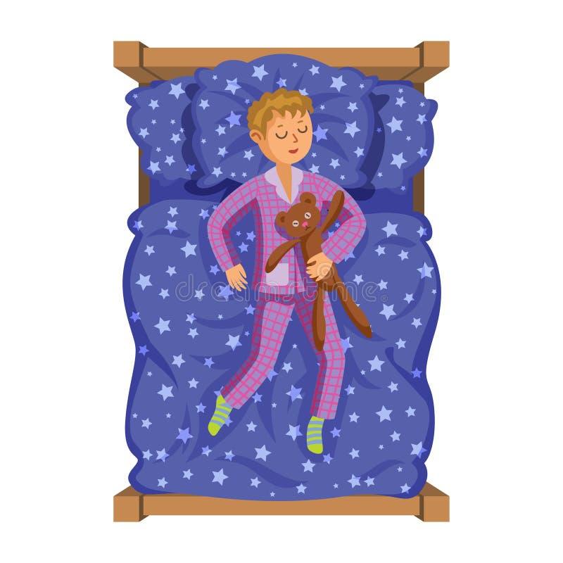 Ragazzino di sorriso del fumetto che dorme nel letto con l'orsacchiotto illustrazione vettoriale
