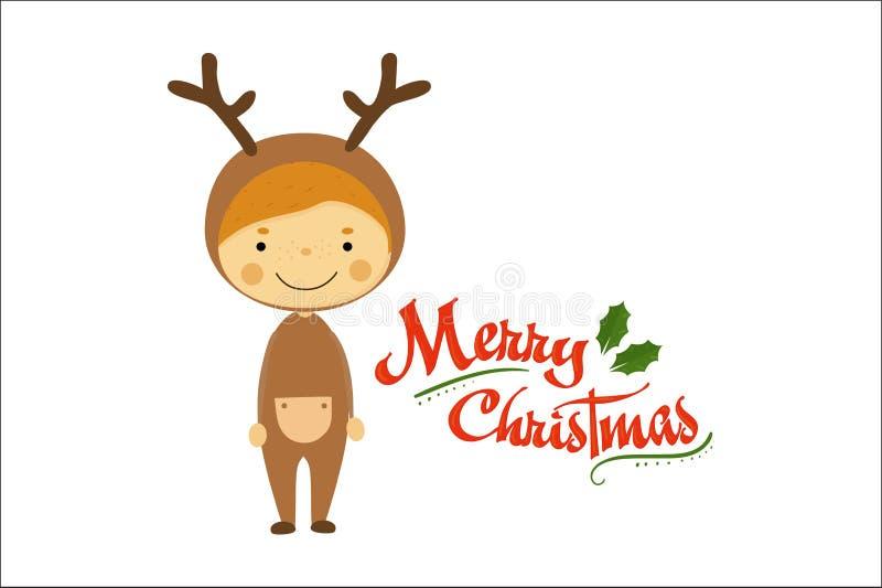 Ragazzino divertente vestito come cervi Bambino sorridente in costume di carnevale Buon Natale e buon anno Vacanza invernale illustrazione di stock