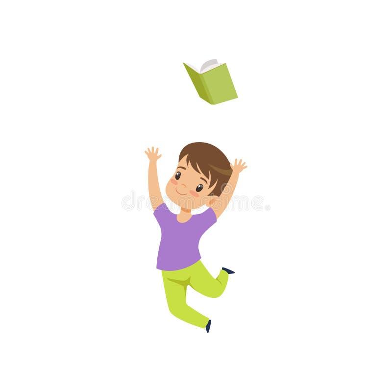 Ragazzino felice che salta con il libro, bambino sveglio che gioca e che impara l'illustrazione di vettore su un fondo bianco illustrazione di stock