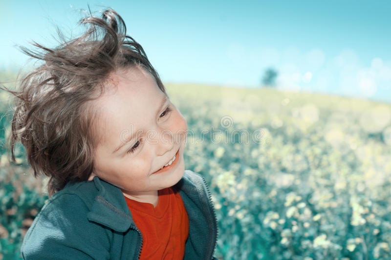 Ragazzino felice su un giacimento di fiore fotografie stock