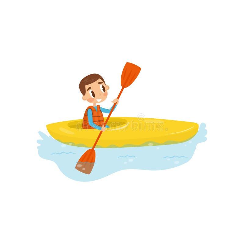 Ragazzino impegnato in kayak Bambino allegro che si siede in kajak e che tiene pagaia Ricreazione attiva di estate Vettore piano illustrazione vettoriale