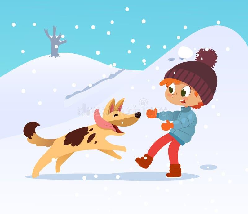 Ragazzino sorridente sveglio che gioca con il cane alla vicinanza nell'inverno Ragazzo e suo passare del cane dell'amico illustrazione di stock