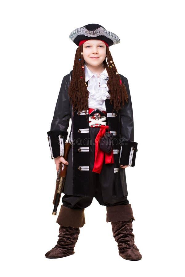 Ragazzino sorridente vestito come pirata immagine stock libera da diritti