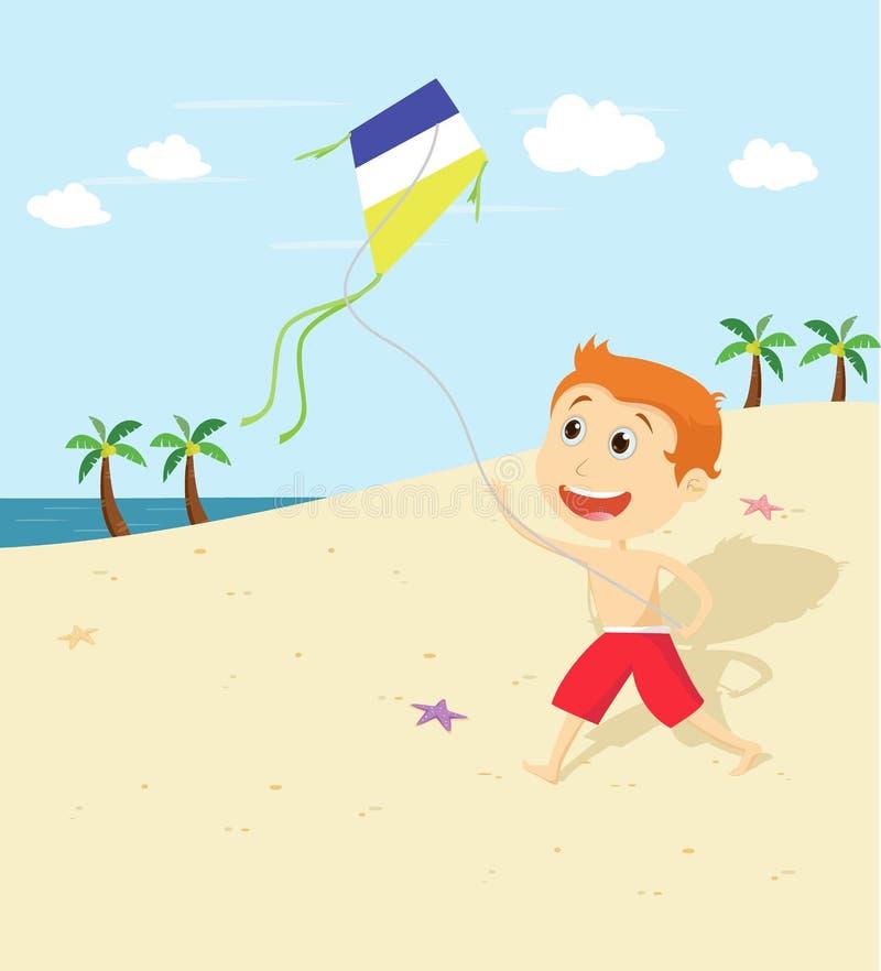 Ragazzino su un gioco della spiaggia con un aquilone illustrazione vettoriale