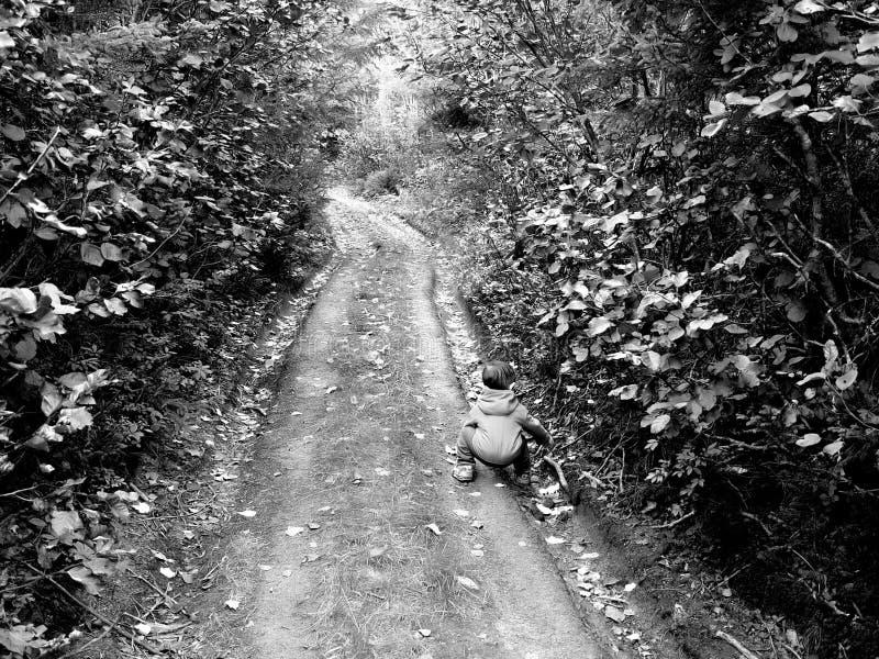 Ragazzino su un vecchio percorso fotografia stock
