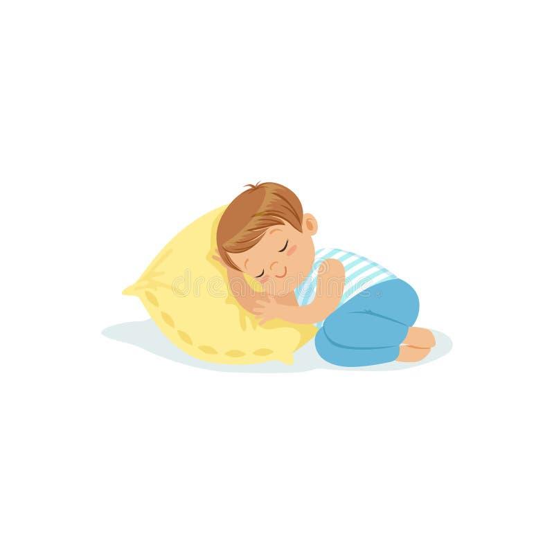 Ragazzino sveglio che dorme su un personaggio dei cartoni animati del cuscino, illustrazione adorabile di vettore del bambino di  illustrazione di stock