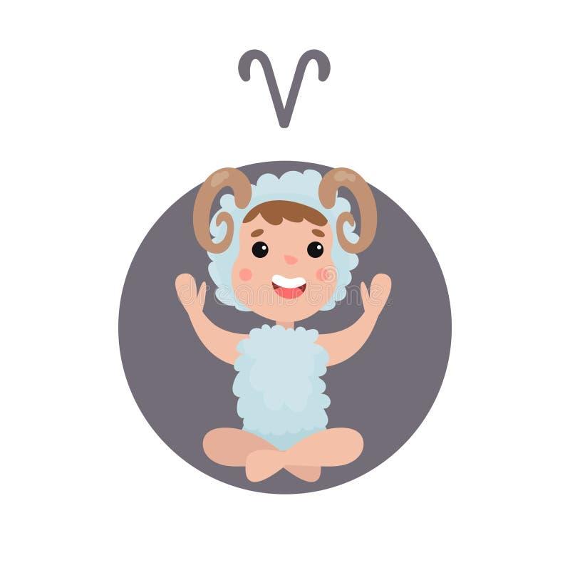 Ragazzino sveglio come segno astrologico dell'Ariete, illustrazione variopinta del fumetto del carattere dello zodiaco dell'orosc royalty illustrazione gratis