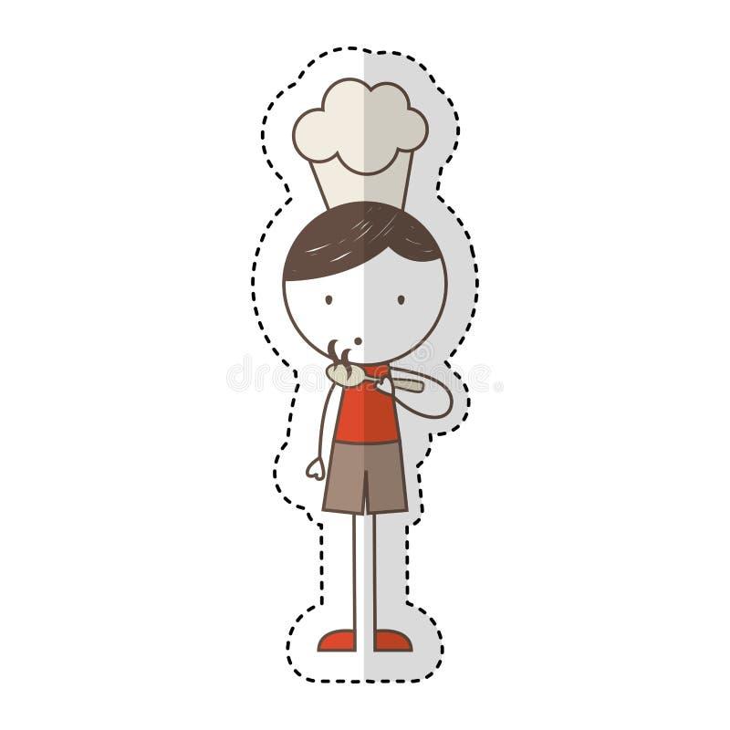 Ragazzino sveglio con il carattere del cappello del cuoco unico illustrazione di stock