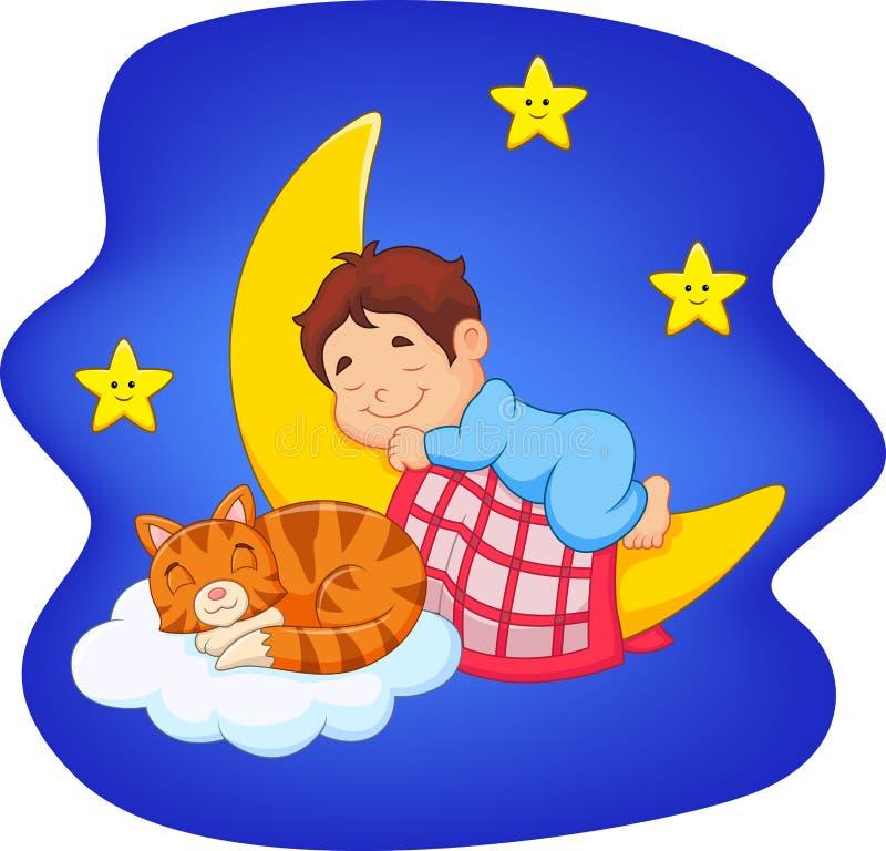 Ragazzino sveglio con il gatto che dorme sulla luna illustrazione di stock