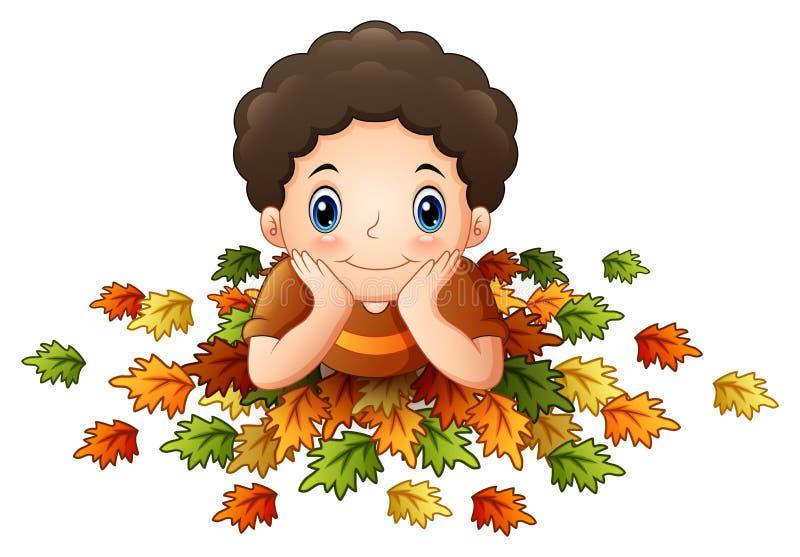 Ragazzino sveglio con le foglie di autunno illustrazione vettoriale