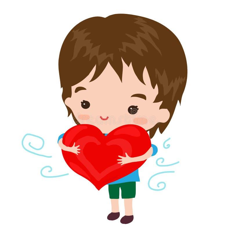 Ragazzino sveglio con un cuore rosso illustrazione di stock