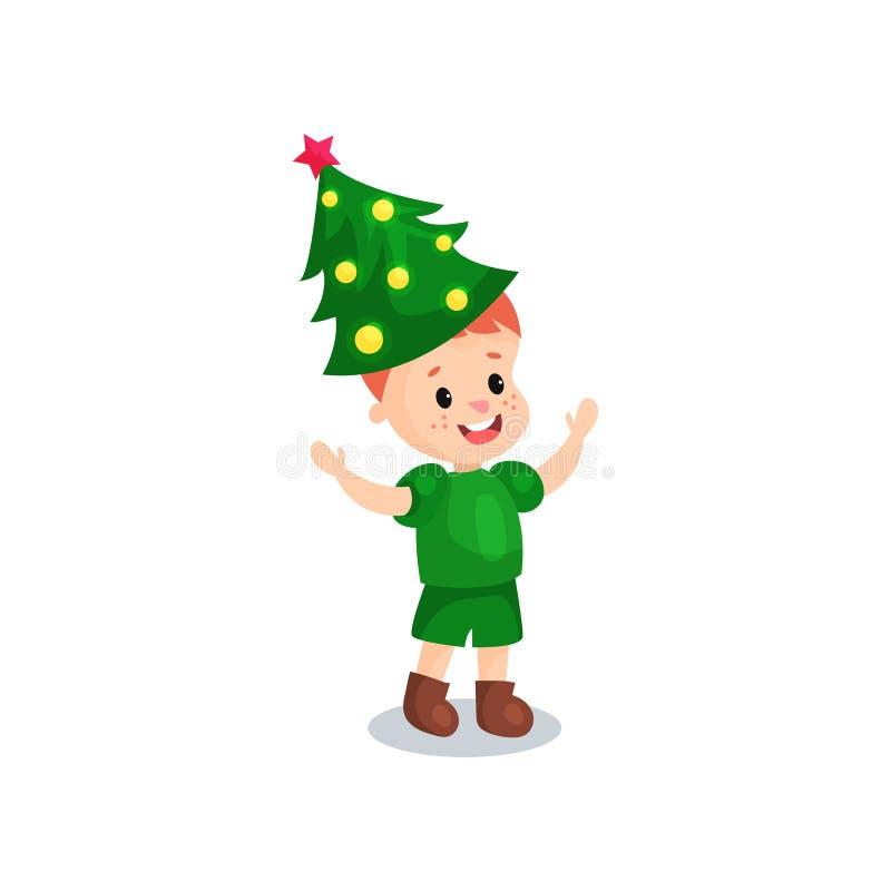 Ragazzino sveglio nel costume dell'albero di hristmas, bambino nell'illustrazione festiva di vettore del fumetto del costume illustrazione di stock