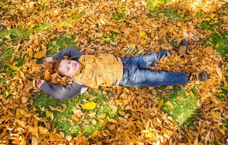Ragazzo adorabile felice del bambino con le foglie nel parco di autunno Caduta Il concetto dell'infanzia, della famiglia e del ba immagine stock libera da diritti