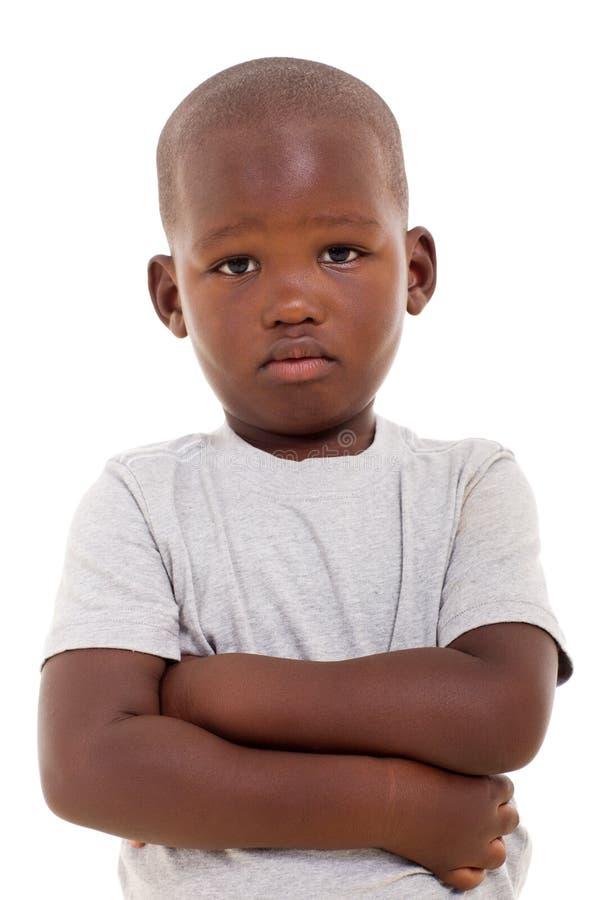 Ragazzo africano infelice fotografie stock libere da diritti