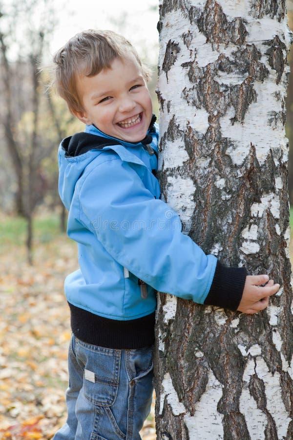 Ragazzo allegro che abbraccia le betulle, sosta di autunno fotografia stock