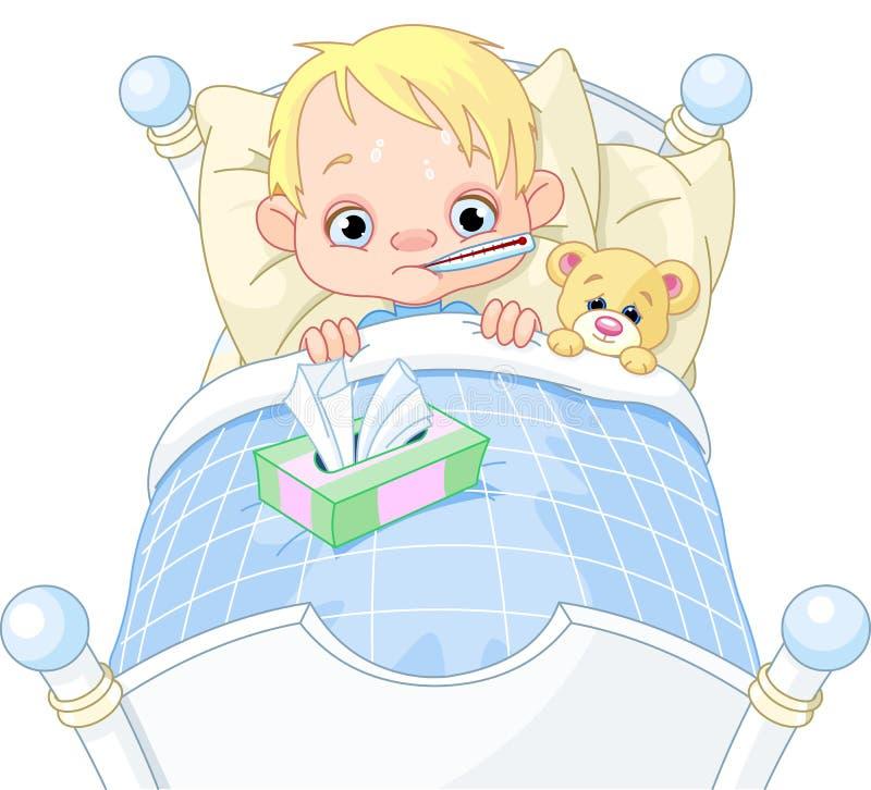 Ragazzo ammalato illustrazione vettoriale