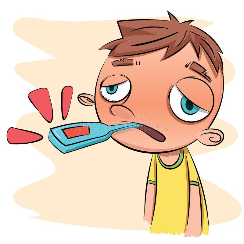 Ragazzo ammalato con il termometro illustrazione vettoriale