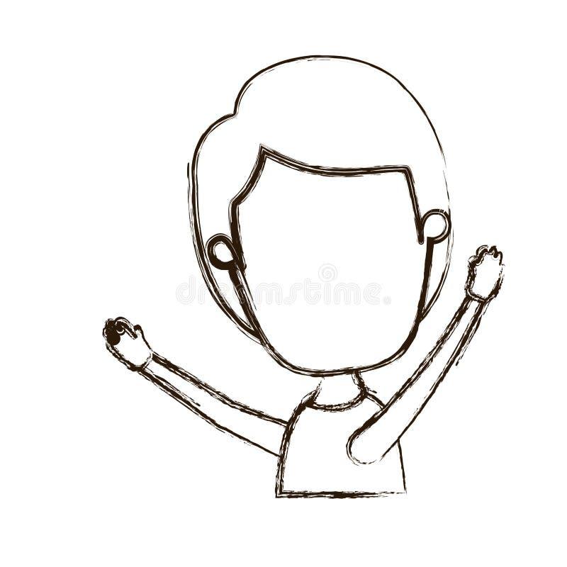Ragazzo anonimo vago del corpo di vista laterale di caricatura spessa della siluetta mezzo con le mani su royalty illustrazione gratis