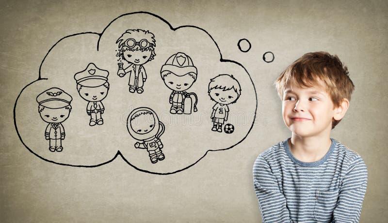 Ragazzo, aspirazione di carriera, piccoli uomini disegnati a mano immagini stock libere da diritti