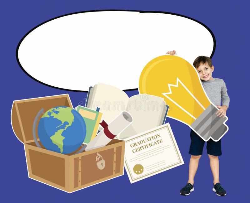 Ragazzo astuto con le icone di istruzione immagini stock libere da diritti